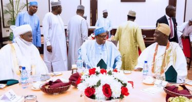 PICTURE NEWS- PMB DINES WITH ROYAL FATHERS