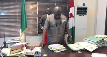 PICTURE NEWS- Ikpeazu resumes office at Abia Government House despite controversy