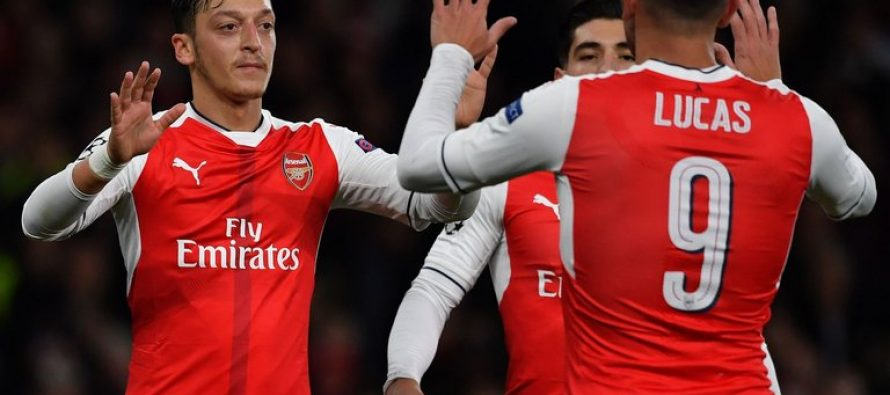 Mesut Ozil scores first professional hat-trick as Gunners hit six